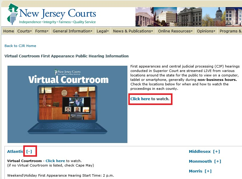 How to Watch a Live Virtual Courtroom First Appearance - Bail Reform