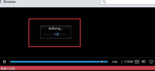 Screenshot showing buffering message
