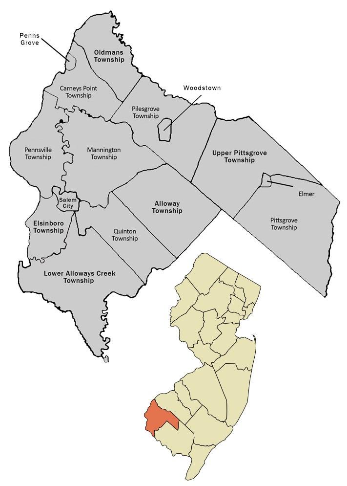Map showing Salem County municipalities